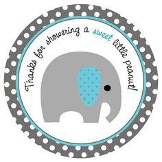 Baby Boy Elephant Stickers - Blue and Grey Polkadot - Set of 30 #butterflyspin