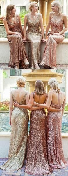 Popular Mismatched Long Sheath Sequin Bridesmaid Dresses For Wedding The long bridesmaid dresses are fully lined, 4 bones in the bodice, chest pad in the bust, lace up back or zipper back are all avai