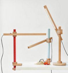 Screw-Like Furniture by Carlo Contin - Design Milk - Pin Maudjesstyling - Cool Lighting, Lighting Design, Wood Furniture, Furniture Design, Wooden Lamp, 3d Prints, Diy Bedroom Decor, Home Decor, Interior Lighting