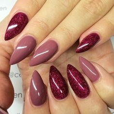 Crimson Glitter Gel & Rosey Posey from Light Elegance - By nail tech Celine Rydén. A great autumn look.