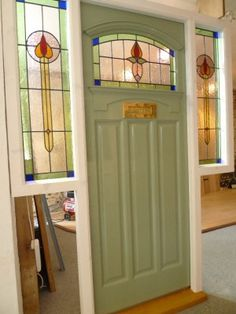 Front Door Stained Glass Stained Glass Front Door Complete With Frame Front Door Stained Glass Panels Front Door Side Windows, House Front Door, Front Door Colors, Glass Front Door, Windows And Doors, Glass Doors, Front Entry, Art Deco, Art Nouveau