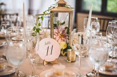 Gold lantern centerpices | Calligraphy table numbers | Nick Edmundson Imaging | Real Wedding as seen on TodaysBride.com