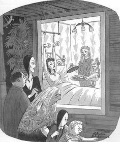 """Charles Addams"" Frankenstein, Addams Family Cartoon, Charles Addams, Pet Cemetery, Adams Family, New Yorker Cartoons, Creepy Art, Cartoon Shows, Horror Art"