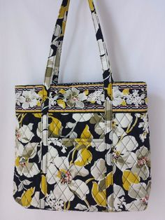 Vera Bradley Dogwood Tote Yellow, Black& White Floral Bag Purse #VeraBradley #TotesShoppers