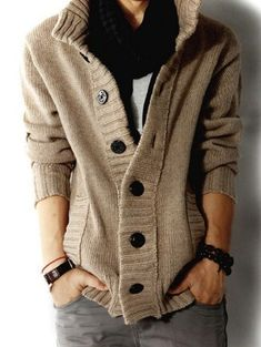 Men's Cardigan High collar style. Casual and Trendy. Your daily outfit for Fall & Winter.
