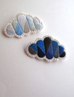Geometric clouds brooch set cloudy and rainy by AnAstridEndeavor