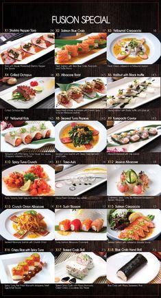 Fusion Sushi Japanese Restaurants - Manhattan Beach and Long Beach in California Japanese Food Sushi, Japanese Menu, Japanese Dishes, Japanese Restaurant Menu, Menu Restaurant, Sushi Recipes, Cooking Recipes, Sushi Bar Menu, Sushi Guide