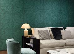 Papier peint vert a motifs