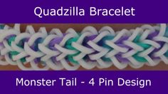 Monster Tail® QUADZILLA Bracelet. An official Rainbow Loom design. Looming and tutorial by Suzanne Peterson. Click photo for YouTube tutorial. 05/22/14.