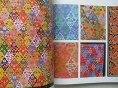 Collier Campbell - Alhambra artwork and colourways. Arabesque, Sarah Campbell, Paint Drop, Pattern Recognition, Color Schemes, Archive, Quilts, Blanket, Fall
