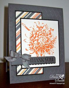 handmade Thank You card ...  luv the layers and perfect coordination of colors starting with the striped paper ... gray with vanilla and dusty orange ... fabulous card!! ... Stampin'Up!