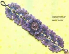 Необыкновенный браслет из цветков и лепестков. Фиолетово-сиреневые тона бисера и застежка-бусина. Подробная схема плетения браслета.