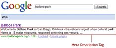 Balboa Park's Meta Description in the Search Results at Google