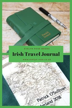Personalised irish gift - st patricks day -leather notebook made in northern ireland, ireland travel journal - gift for him, father, brother