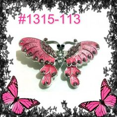 Pink Sparkle Rhinestone Crystal  Butterfly Pin & Brooch#1315-113 #pinkbutterfly #butterflybrooch  #butterfly