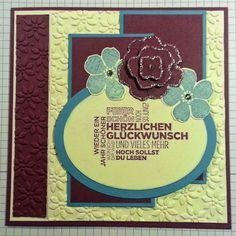 Tanja´s Stempel Zauberland: Geburtstagskarte quadratischPapier/Farbe: Himbee...