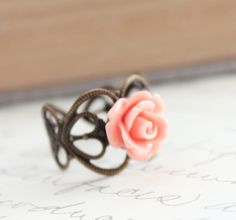 Rose Ring, Dainty Flower Ring, Adjustable Filigree Band, Coral Pink, Peach, Shabby Chic Jewelry, Cocktail Ring, Spring Jewelry