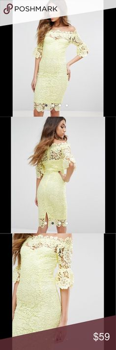 Asos dress size 4 yellow lace dress Only worn twice to 2 weddings. Great condition. From ASOS paper dolls collection. Size 4 or will fit someone who wears a small. Yellow lace off the shoulder. I received so many compliments on this dress when I wore it! Asos Dresses Mini