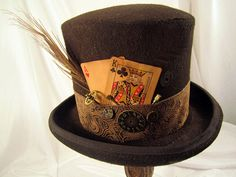 Steampunk Men's Brown Bell Topper with Playing by JillieKatHats, $99.00