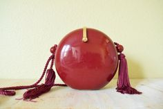 Vintage 1980's Acrylic Clutch Purse with Tassels  by GracedVestige