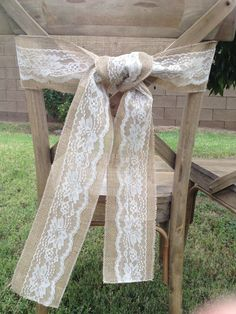Burlap and Lace Chair Sash. $4.50, via Etsy. http://www.etsy.com/listing/107592110/burlap-and-lace-chair-sash?ref=sr_gallery_18_search_query=wedding+chair+ties_view_type=gallery_ship_to=ZZ_min=0_max=0_search_type=all_facet=wedding+chair+ties#