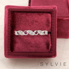 Gorgeous Sylvie Collection stackable ruby and diamond band. Perfect for a wedding band or a birthday gift! Stackable Wedding Bands, Stackable Bands, Wedding Band Sets, Wedding Rings, Designer Engagement Rings, Diamond Engagement Rings, Best Birthday Gifts, Diamond Bands, Fashion Rings
