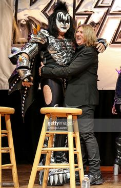 Musicians Gene Simmons and Joe Elliott appear at a press conference to announce the KISS and Def Leppard '2014 Heroes Tour' at House of Blues on March 17, 2014 in West Hollywood, California. alternate crop of #479330103