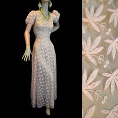 30s Wedding Dress - Embroidered Net Lace - Nouveau Cannabis Embroidery
