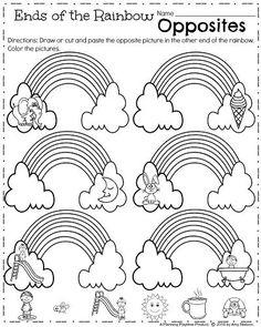 Kindergarten Opposites worksheet to teach antonyms.