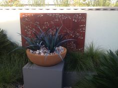 rusted garden side-panel feature with succulents in pot