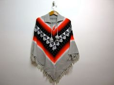 Vintage fringed poncho sweater coat // by dirtybirdiesvintage, $42.00