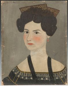 Folk art portrait, oil/paperboard, attr. To Asahel Lynde Powers. Carson Dana Gifford Miller, born Vermont 1812, died Rochester, NY, April 30, 1891.