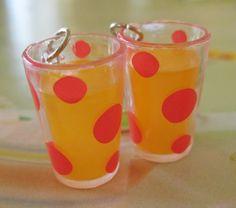 Miniature Food Jewelry  Glass of Orange Juice by Artwonders, $8.00