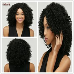 Fashion Black Towheaded Afro Curly Heat Resistant Synthetic Medium Capless Wig For Women