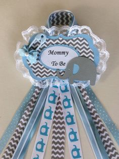 boy baby shower baby shower corsageblue and grey elephant corsagebaby boy to be baby shower
