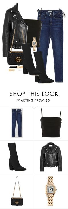 """Sem título #5754"" by lguimaraes ❤ liked on Polyvore featuring Topshop, Acne Studios, Gucci, Cartier and Yves Saint Laurent"