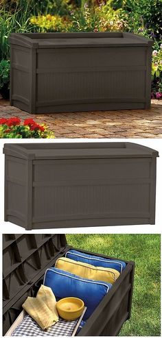 Other Patio And Garden Furniture 10035: Patio Plastic Bench 50 Gallon  Storage Deck Box Garden Pool Seat All Weather  U003e BUY IT NOW ONLY: $101.91  On U2026