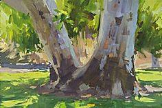 Mike Hernandez · Sycamore tree trunk study from Betty Davis park Burbank gouache Watercolor Artwork, Gouache Painting, Abstract Landscape, Landscape Paintings, Guache, Cool Paintings, Fine Art, Griffith Park, Betty Davis