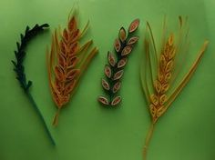 How to make Quilling Wheat Grain/Leaf Stem using Comb. DIY Making tutorial.