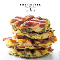 Frittaffle, Serves: 4 servings, Directions: 1. Add canola oil into a 9 in. non-stick, oven proof pan and heat over medium high heat. Stir in red peppers and cook until soft. Add in potatoes and stir until warmed through. Add-in arugula and bacon and stir to combine with the other ingredients. 2. In a bowl combine whisk together salt, pepper, parmesan romano and eggs. Pour mixture into pan and evenly distribute it throughout. Stir in 3/4 cups of mozzarella and sprinkle the remaining 1/4 cup…
