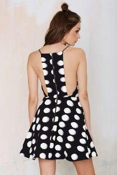 Black & White Polka Dot Flare Dress