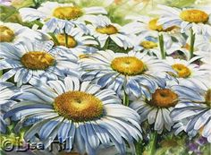Step 6 of white daisies watercolor painting demonstration