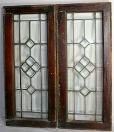 "Early 1900s Leaded Glass Windows. We have four of these matching leaded glass windows. Each measures 15-3/4"" wide by 36-1/2"" tall and are $475 per window."