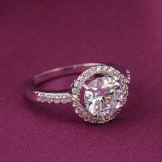 Sterling silver plate  cz ring size6 New Jewelry Rings
