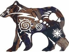 New Spirit Bear Wildlife Metal Wall Art. Here we have the powerful polar bear in silhouette as emblems of the northern night sky and massive bear track emblazon his side. Beautifully designed, this wi Native American Design, Native Design, Native American Bedroom, Urso Bear, Spirit Bear, Bear Spirit Animal, Atelier D Art, Laser Cut Metal, Laser Cutting
