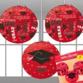 Red Congrats Grad Lanterns-3 Per Unit