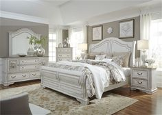 Magnolia Manor Sleigh Bed 6 Piece Bedroom Set in Antique White Finish by Liberty Furniture – - white bedroom furniture Antique White Bedroom Furniture, Royal Furniture, Liberty Furniture, Bedroom Furniture Sets, Luxury Furniture, Diy Bedroom Decor, Home Furniture, Furniture Design, Home Decor