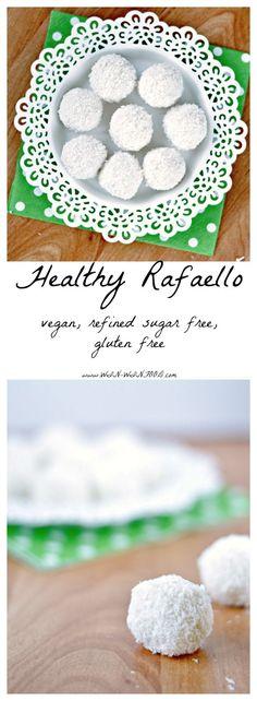 Healthy Raffaello   Coconut shreds, maple syrup, coconut cream and almonds