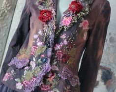 Coquette  jacket - ornate festive jacket, bohemian romantic,  altered couture, embroidered and beaded details