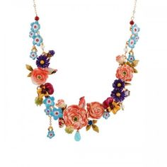 Les Nereides Roses D'Hiver Bouquet Of Roses and Birds Necklace